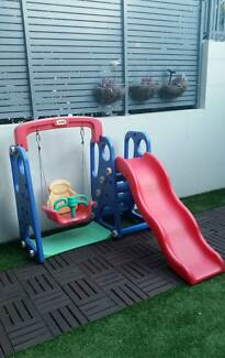 Kids Swing Set - VASIA Slide and Swing, Basket Hoop