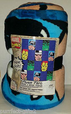 (MARVEL COMICS SUPER HEROES MICRO FIBER RASCHEL THROW BLANKET~NEW~50X60~HULK)
