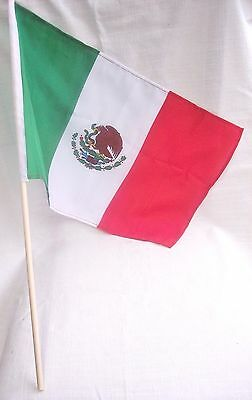 "MEXICAN CLOTH FLAG WITH EAGLE & WOODEN POLE : GREEN-WHITE-RED COLORS: 18""X12"""