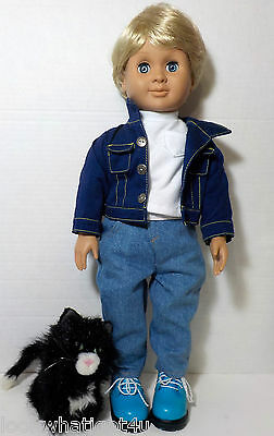 Battat JACK Boy doll American Girl Counterpart w/ Licorice The Cat American Girl
