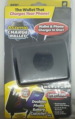 ATOMIC CHARGE WALLET ~ WALLET AND PHONE CHARGER IN ONE ~ BRAND NEW SEALED, BLACK