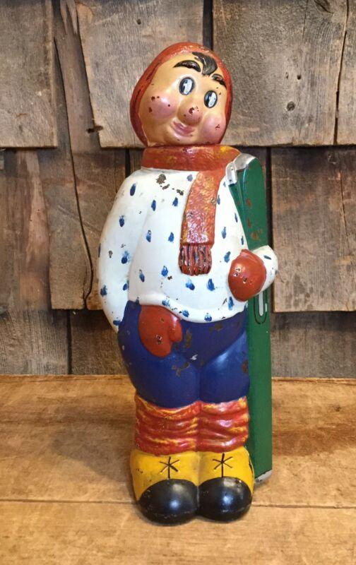 Vintage Shy Skier Shaped Glass Drink Bottle Decanter Hand Painted Folk Art Decor