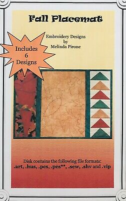 Sew Precious Digitized Machine Embroidery CD Fall Placemat Quilted Leaf Designs Machine Quilted Placemat