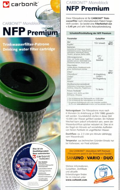 Water Filter Cartridge Carbonit NFP Premium for sanuno Vario Duo auftischfilter