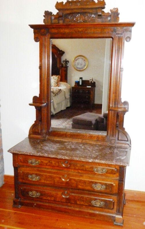 Amazing antique walnut dresser, mirror, marble top with burl veneer