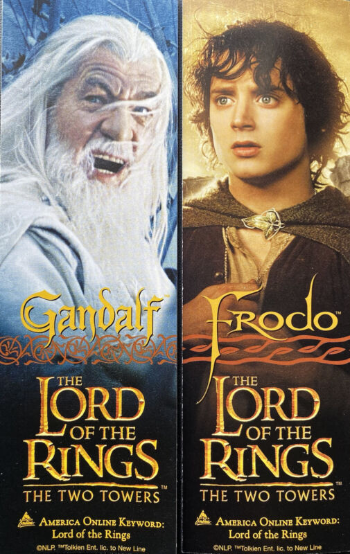 Movie Promo Lord of the Rings Gandalf & Frodo 2-sided bookmark The Two Towers