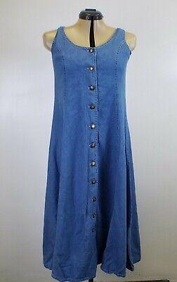 Women Denim Dress maxi long jumper blue Jean's sleeveless snap button's Medium  Blue Jean Jumper