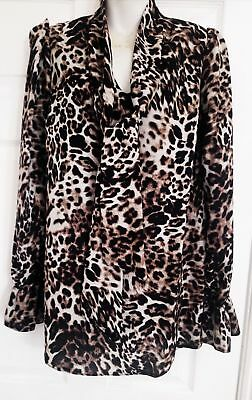 LEOPARD ANIMAL  PRINT PUSSY BOW BLOUSE (TOP)  JOHN ZACK WITH TIE NECK AND SASH