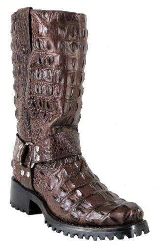 Mens, Crocodile, Alligator, Back, Design, Biker, Cowboy, Western, Boots, Brown, Square
