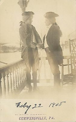 1908 Real Photo Postcard  Men In Colonial Costume Curwensville Pa Clearfield Co