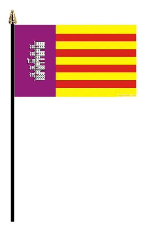 "MALLORCA SPANISH PACK OF 12 SMALL HAND FLAGS flag 6""x4"" with pole SPAIN MAJORCA"