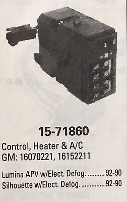 A//C and Heater Control Switch Mopar 4596277AB fits 01-04 Dodge Stratus