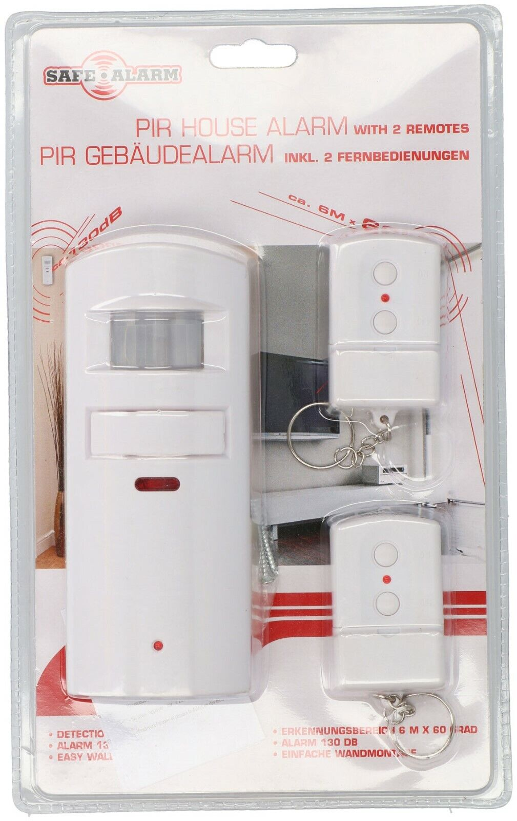 SECURITY DECKENALARM mit PIR Bewegungserkennung und IR Fernbedienung
