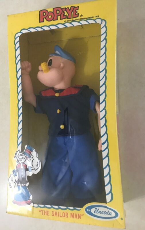 "VINTAGE 1979 UUNEEDA KING FEATURES  SYNDICATE ""POPEYE THE SAILOR DOLL""  NOS MIB"