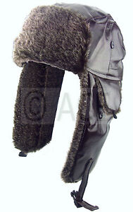 Mens Womens Pilot Aviator Faux Leather Ear Warmer Winter Faux Fur Trapper Hat