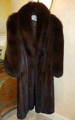 GENUINE MAHOGANY MINK FUR COAT FULL LENGTH LONG HAIR FOX COLLAR & SLEEVES 12 LRG ()
