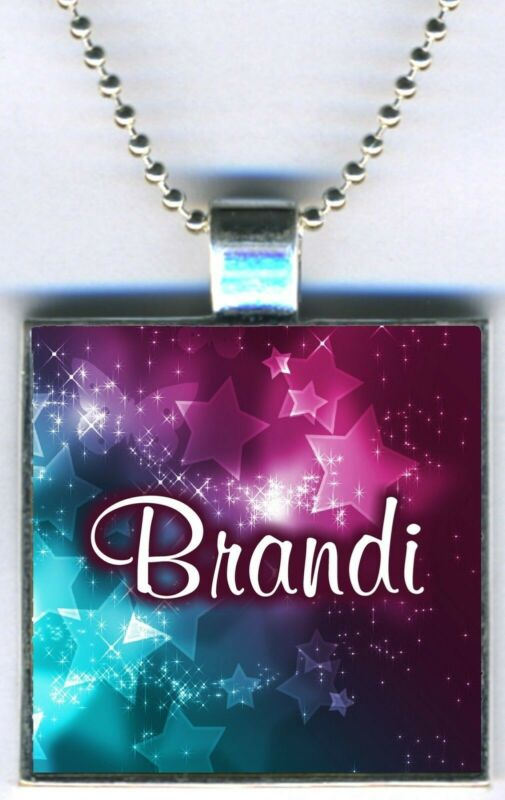 "Personalized Custom Stars Colorful Square Pendant Charm Necklace w/24"" Chain NEW"
