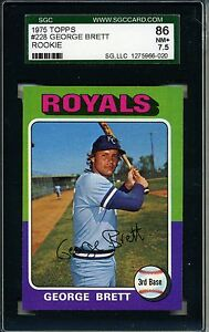 1975 75 Topps Baseball #228 George Brett Rookie Card SGC 86