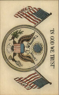 Eagle American Flags In God We Trust Seal of United Stations c1920s Postcard