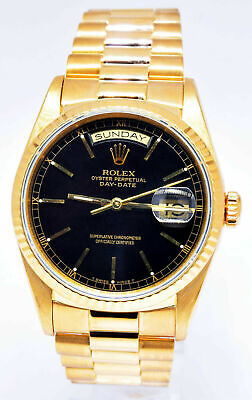 Rolex Day-Date President 18k Yellow Gold Black Dial Mens 36mm Watch 18238