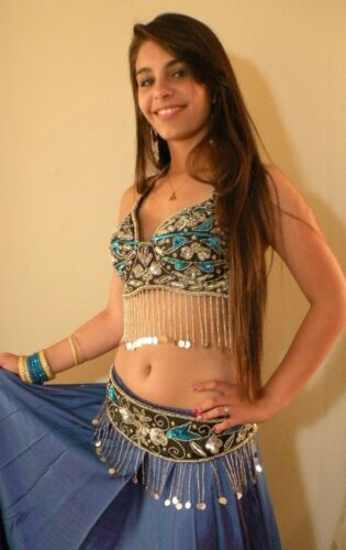SILVER, BLUE, BLACK BRA BELLY DANCE, D cup. made India. BEADED GYPSY NEW!!
