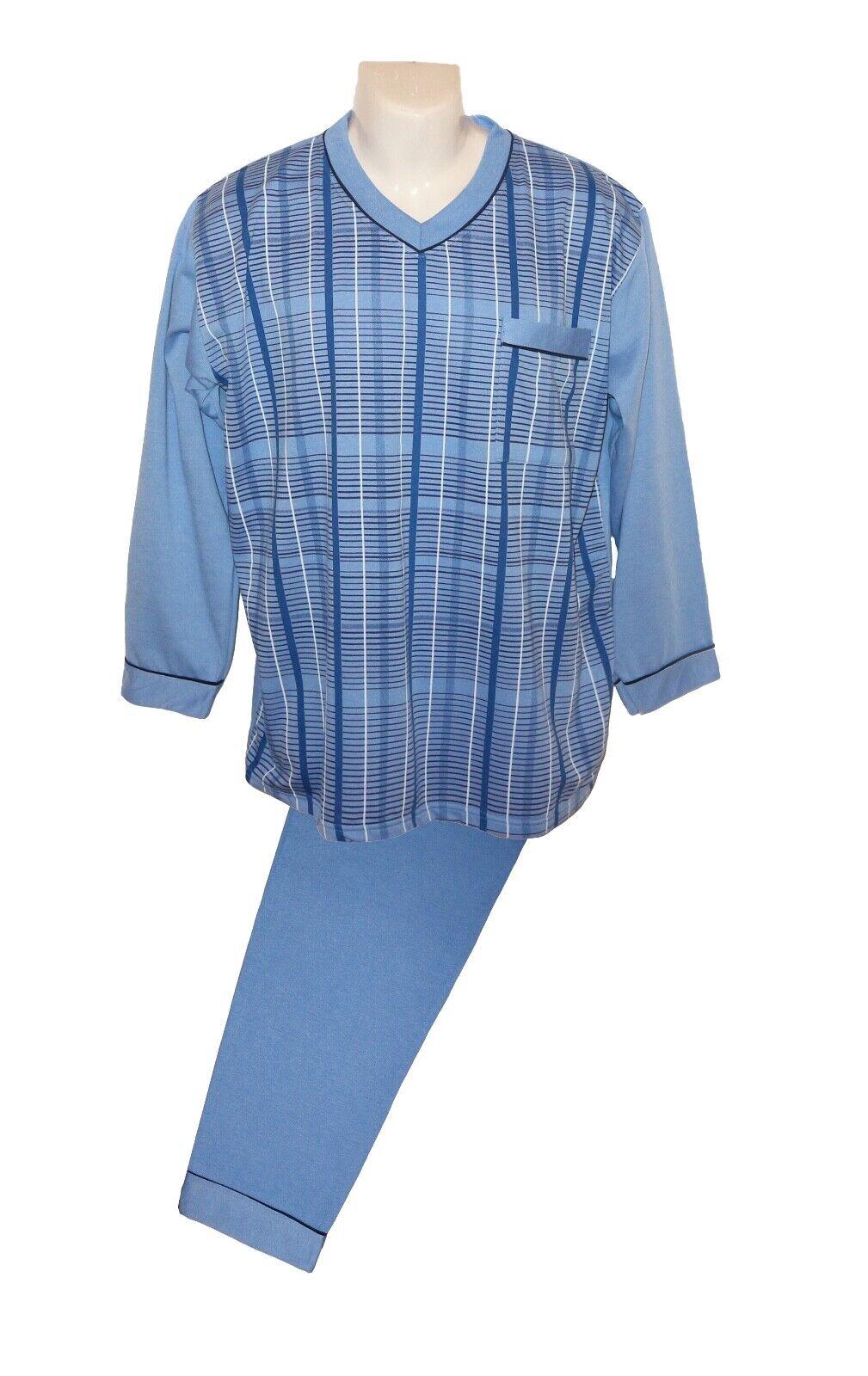 Herren Schlafanzüge blau 100 % Baumwolle Größe L