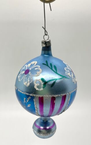 Vintage Shiny Bright Christmas Ornament Blue Pink White Flowers