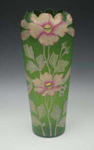 """ANTIQUE PAIRPOINT HARRACH BOHEMIA RAISED DESIGN FLOWERS ROSES 11"""" LARGE VASE"""