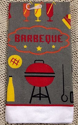 Barbecue SUMMER Cookout  BBQ Grill Kitchen Hand Towel  SPRINGTIME MultiUse Decor (Barbecue Decorations)