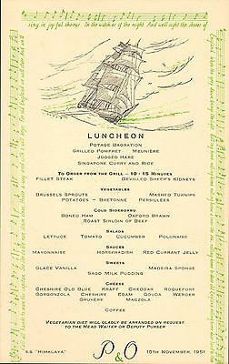 p & o - s.s. himalaya menu (  1951 ) luncheon ( sing in joy-  ful chorus  )
