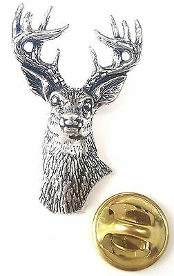 Stag Head Handcrafted in Solid Pewter In UK Lapel Pin Badge A22