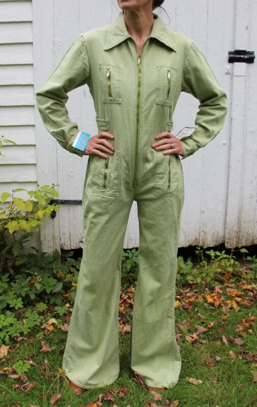 Vintage 1970s Green Denim Jumpsuit Coveralls NOS With Tags Small Medium 70s
