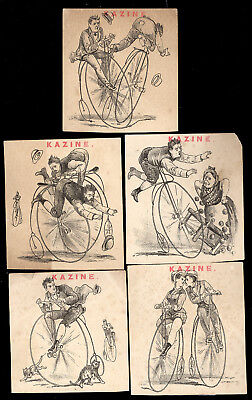5 BIG WHEEL BIKE BICYCLE KAZINE SOAP TRADE CARDS, DIFF. VIEWS & ACCIDENTS  K255 Motorcycle Big Card