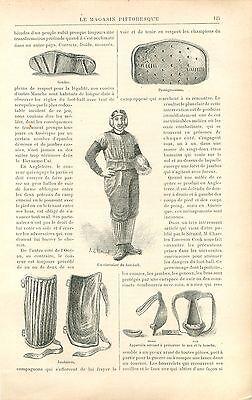 Casque, Equipement du Joueur de Football Américain GRAVURE ANTIQUE PRINT 1897