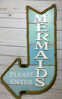 Mermaids Please Enter Arrow Wood/Rope Wall Decor nautical theme Mermaids