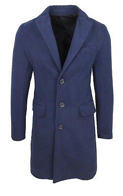 Cappotto soprabito uomo sartoriale blu slim fit elegante invernale made in Italy