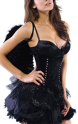 schwarzer Engel dark black angel + Flügel Kostüm Karneval Wäschebeutel