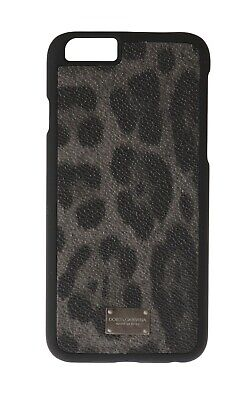 NEW $120 DOLCE & GABBANA Phone Case Gray Leopard Pattern Cover Logo iPhone6