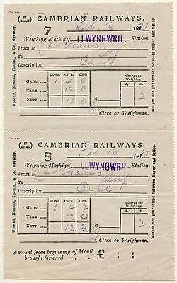 RAILWAY 1921 CAMBRIAN WALES LLWYNGWRIL STATION COAL RECEIPTS 7 + 8