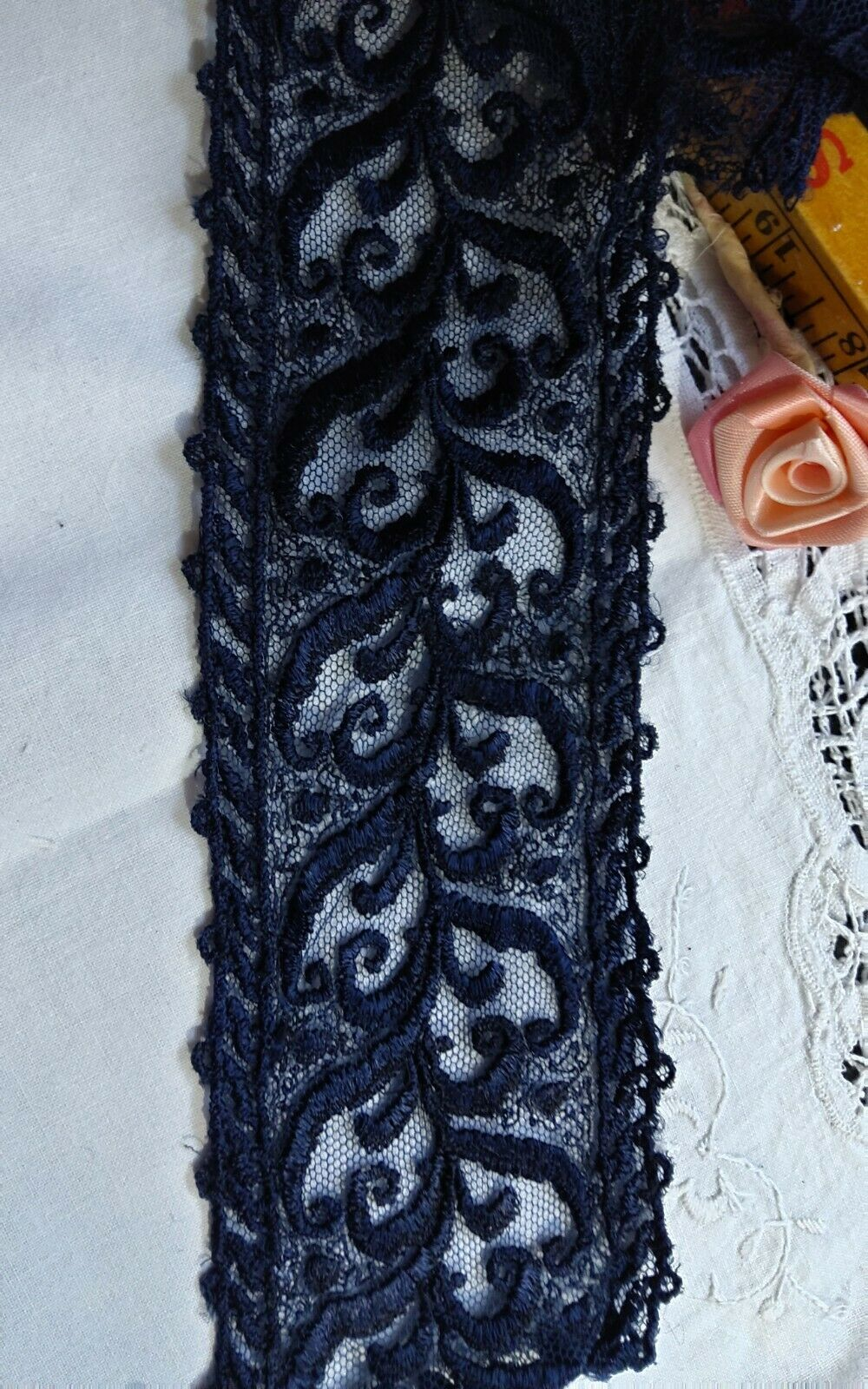 ANTIQUE RAYON EMBROIDERED NET LACE dk Blue 44 In X 3 In Wide French  - $6.00