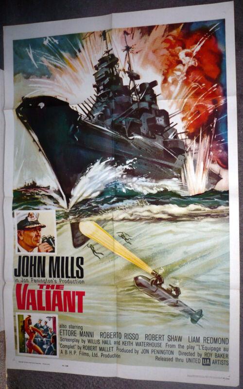 THE VALIANT original 1962 WW2 movie poster BRITISH BATTLESHIP 1sheet JOHN MILLS