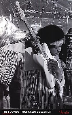 "FENDER POSTER~Jimi Hendrix Playing Stratocaster Strat 24x37"" B/W Rock Out New~"