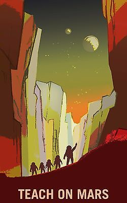 """/""""Discover Mars/' Valles Marineris/"""" Retro Style Space Exploration Poster 24x36"""