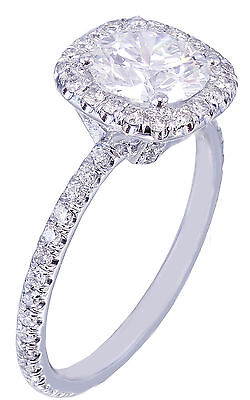 GIA H-SI1 18K White Gold Round Cut Diamond Engagement Ring Halo Prong 2.15ctw 3