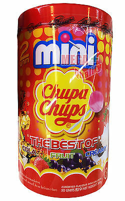 50 x Mini Chupa Chups Lollipops The Best of COLA FRUIT CREAMY Strawberry