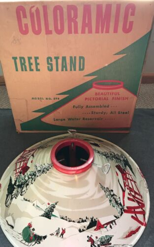 COLORAMIC Metal Tree Stand with Original Box - Scene with Barn +  Snow + Sleigh