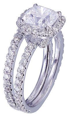 GIA G-VS2 18k White Gold Cushion Cut Diamond Engagement Ring And Band Halo 2.30c 5