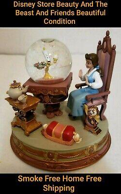 RARE Disney Beauty And The Beast Snowglobe Cogsworth Mr. Potts Lumiere Bella