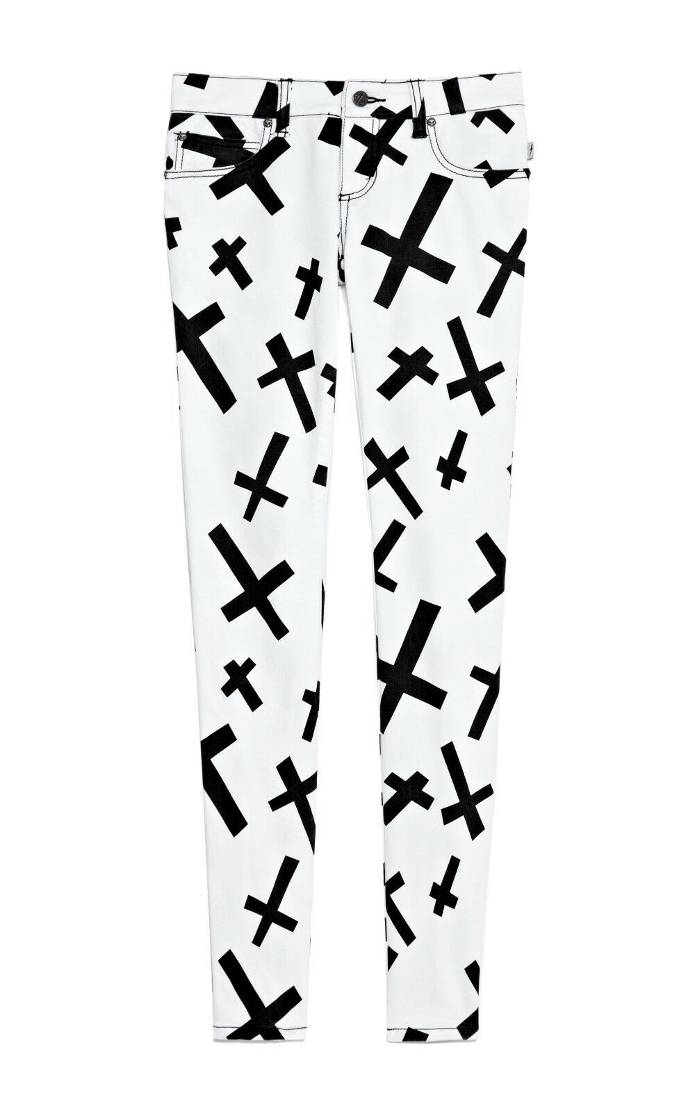 TRIPP EMO GOTH PUNK ROCKER WHITE/BLACK CROSSES JEAN PANTS SKINNY METAL IS6235P Clothing, Shoes & Accessories