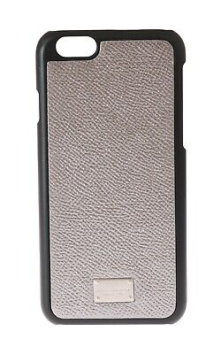 NEW $160 DOLCE & GABBANA Phone Case Silver Shiny Leather Logo Cover iPhone6